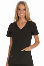 Activate by Med Couture Women's Refined V-Neck Solid Scrub Top 8416-Black