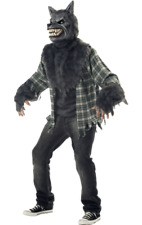 Mens Full Moon Madness Werewolf Halloween Party Scary Fancy Dress Costume