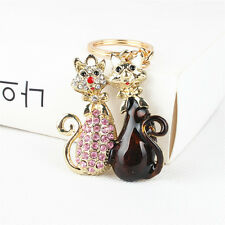 Lovely Cat Butterfly Charm Pendent Rhinestone Crystal Purse Bag Key Ring Chain