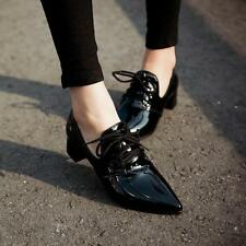 Womens Pointed Toe Mid Heels Patent Leather Shiny Lace Up Low Top Oxfords Shoes