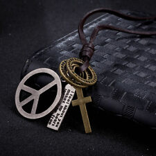 Men's Womens Stainless Steel Peace Sign Symbol Pendant Long Chain Charm Necklace