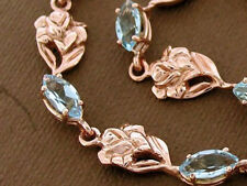 Genuine 9K 9ct SOLID Gold Natural Gem Love Roses Bracelet avail. in long size