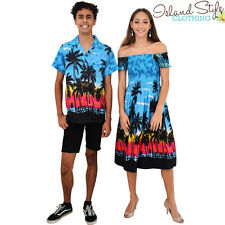 Set Turquoise Palms Capped Dress & Mens Hawaiian Shirts Costume
