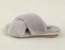 Ladies Warm Rabbit Fur Slippers Furry Slip On Indoor Home Mules Flats Shoes Hot