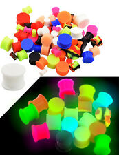 2 PCS Glow In The Dark Soft Silicone Ear Solid Tunnels plugs Ear Gauges Piercing