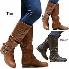 New Women WTus Tan Brown Riding Slouchy Knee High Boots size 6 to 10