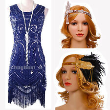 Flapper Costume 1920s Roaring Gatsby Womens Ladies Sequin Fancy Dress UK 2-20