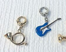 Fossil Brand Charm: Instruments Guitar or French Horn Bracelet or Pendant NWT