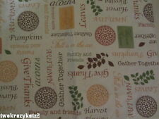 THANKSGIVING HARVEST FALL PHRASES WORDS TABLECLOTH FLANNEL BACK VARIOUS SIZES
