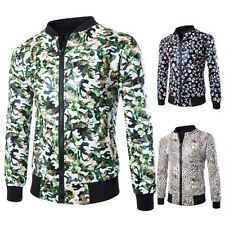 New Mens Slim Fit Faux Leather Floral Motorcycle Coat Fashion Biker Jacket Tops