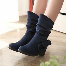 Womens Slouch Faux Suede Bowknot Pull on Hidden Heel Causal Street Ankle Boots