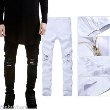 Fashion Mens Classic Designed Straight Slim Fit Biker Jeans Pants Denim Trousers