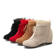 Women's Lace Up Booties Faux suede new Hidden Heel All match Ankle Boots #US10.5