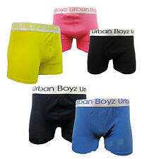 6,3 Pairs Mens Plain Urban Boxer Shorts  Designer Cotton Rich Trunks Underwear