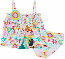 Disney Collection Girls Swimsuit Frozen 2 piece Floral Multi UPF 50+ size 2 NEW