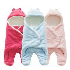 Newborn Baby Infant Fleece Hooded Swaddle Wrap Swaddling Blanket Sleeping Bag HT