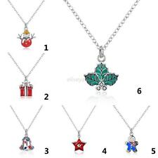 Fashion Jewelry Christmas Bell Santa Tree Wreath Snowman Pendant Necklace Gifts