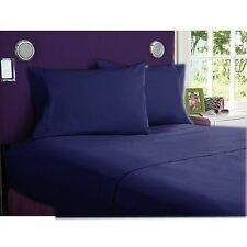 OFFER BEDDING SHEETS COLLECTION 1000TC EGYPTIAN  COTTON NAVY BLUE SOLID ALL SIZE