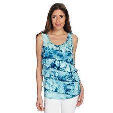 OSO Casuals Knit Tie-Dye Scoop Neck Ruffle Front Tiered Tank Top Size 1x