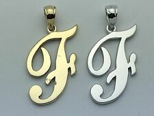 "14K Gold Alphabet Initial Letter ""F"" Charm Pendant in Yellow, White or Rose Gold"