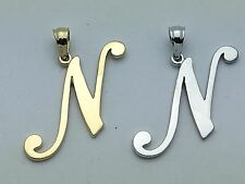 "14K Gold Alphabet Initial Letter ""N"" Charm Pendant in Yellow, White or Rose Gold"