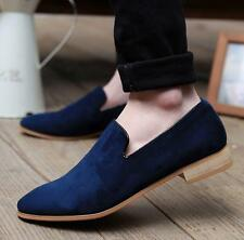 Mens Faux Suede Slip On loafers Flat Oxfords Pointy Toe boat driving shoes