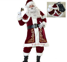 Santa Costume Adult Santa Claus Suit Christmas Clothes Luxury Suit Xmas Gift