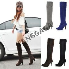 Sexy Lady Womens Stilettos High Heel Knee High Boots Stretch Pointy Toe Shoes SZ