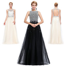 HOT WOMENS LONG DRESS Sequins Beading Tulle Netting Ball Gown Evening Prom Party