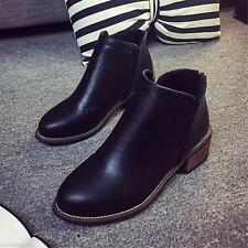 Classic Womens Ladies Retro Ankle Boot Back Zipper 2inch Cuban Heel Casual Shoes