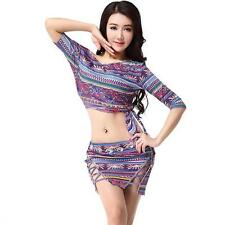 New Sexy 2016 Women Tribal Belly Dance Costumes Set Outfit 2pics Top & Skirt