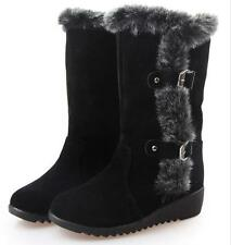 Women Lady Flat Ankle Snow Boots Suede Winter Thicken Warm Fur Casual Shoes