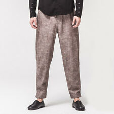 Men Brown Linen Drawstring Ethnic Capri Cropped Harem Carrot Pants Trousers