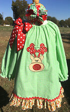 Applique Reindeer green Check Christmas Dress Peasant 24M 2T 3T 4T 5 6 7 8 10 12