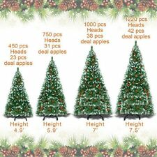 Artificial 5-7.5ft Snow Tipped Christmas Tree w/ pinecones& Base Green Pine Tree