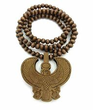 "EGYPTIAN HORUS BIRD PENDANT & 36"" GOOD WOOD BEAD CHAIN HIP HOP NECKLACE"