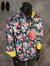NEW Mens INSOMNIA by MANZINI Button Dress Shirt Navy Blue with Colorful Florals