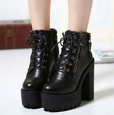 High Block Platform Heel Womens Combat Military Lace Up Motor Ankle Boot Shoes