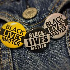"""Black Lives Matter 1"""" Buttons BLM Pins 3-Pack (Yellow/White/Black)"""