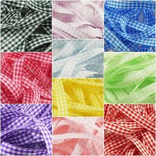 10mm & 15mm Gingham Ribbon - 1m Cut Length - 10 Colours - 3 FOR 2