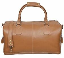 HOLDALL Tan LARGE CAPACITY Large Weekend Duffle Travel Real Genuine Leather Bag