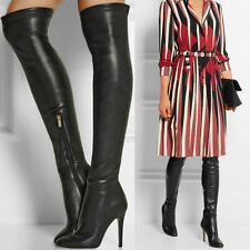 Womens Leather Black Thigh High Over the Knee Boots Point Toe High Heel Oxfords