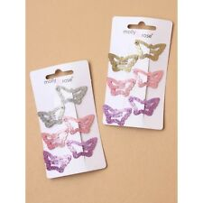 Card of 6 Small Glitter Butterfly Hair Sleepies Girls Hair Clips Accessories