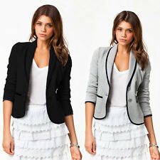 Casual Women Long Sleeve Button Blazer Suit Jacket Slim Short Coat Outwear Tops