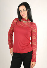 New Womens Lace Diamante Neckline Long Sleeve Party Going Out Classy Top