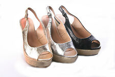 WOMENS LADIES CRINKLE PATENT HESSIAN SLING BACK HIGH WEDGE SANDALS SHOES SIZE3-8