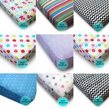 Pink FITTED SHEET Girls Kids Bedding 100% Cotton by Patterned Single, Double
