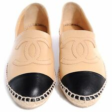 CHANEL Beige Black Lambskin Leather Espadrilles, SOLD OUT