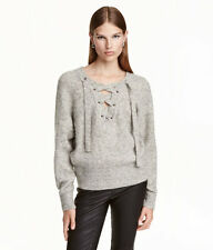 H&M Trend Conscious Rib Knit Mohair Wool Lacing Gray Melange Sweater XS S M L