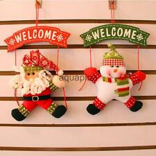 Merry Christmas Wall Hanging Snowman Santa Deer Xmas Tree Party Ornament Decor